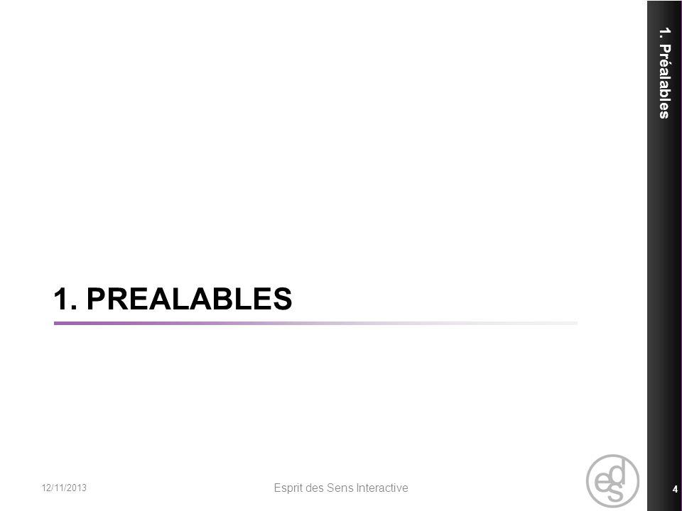 1. PREALABLES 1. Préalables 12/11/2013 Esprit des Sens Interactive 4