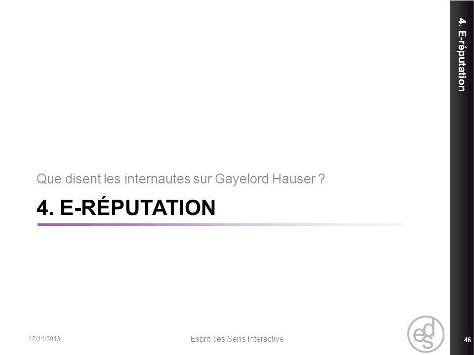 4. E-RÉPUTATION 4. E-réputation 12/11/2013 Esprit des Sens Interactive 46 Que disent les internautes sur Gayelord Hauser ?