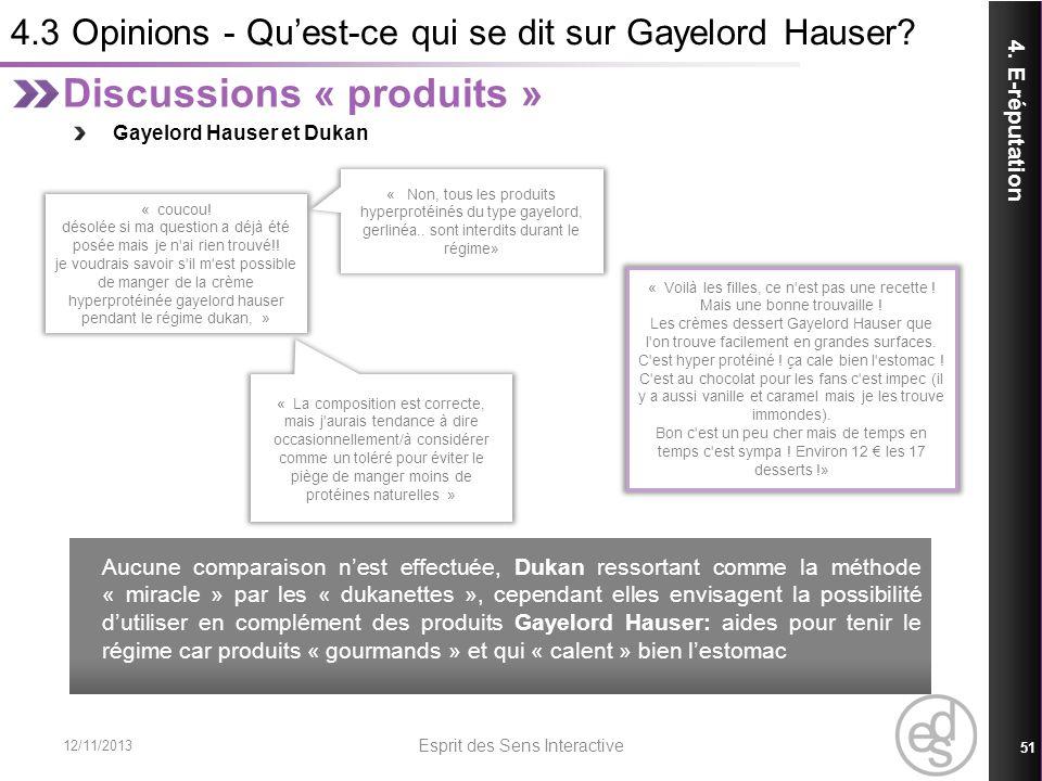 4.3 Opinions - Quest-ce qui se dit sur Gayelord Hauser? 12/11/2013 Esprit des Sens Interactive 51 4. E-réputation Discussions « produits » Gayelord Ha