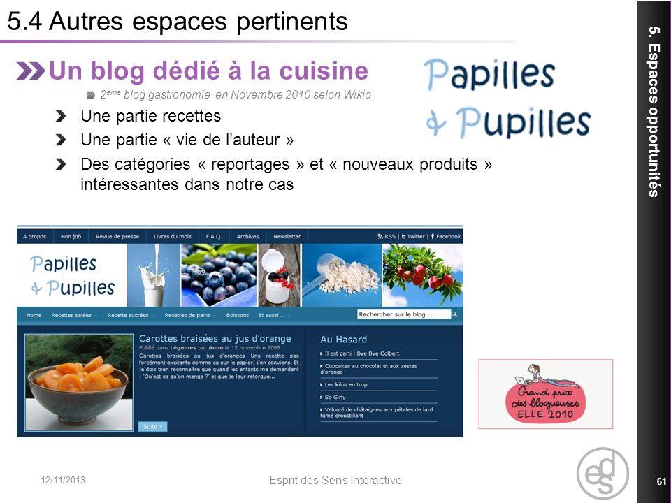 5.4 Autres espaces pertinents 12/11/2013 Esprit des Sens Interactive 61 5. Espaces opportunités Un blog dédié à la cuisine 2 ème blog gastronomie en N