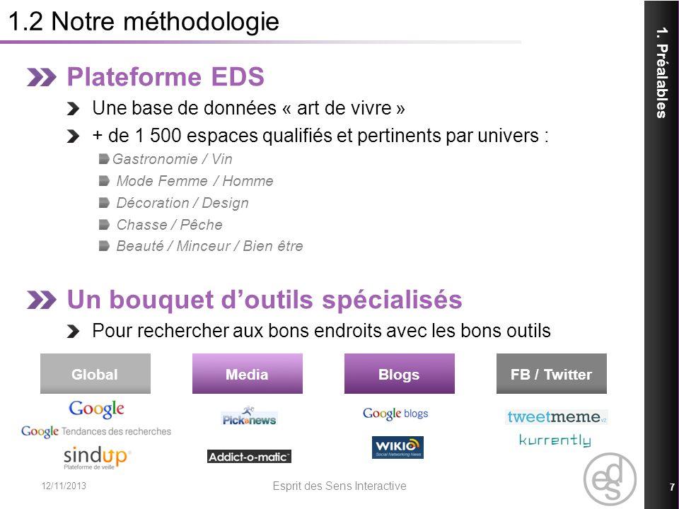 3.1 Conclusions des requêtes – Catégories / Critères 12/11/2013 Esprit des Sens Interactive 38 3.