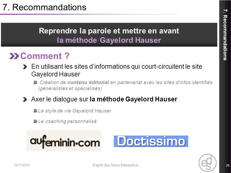 7. Recommandations Comment ? En utilisant les sites dinformations qui court-circuitent le site Gayelord Hauser Création de contenu éditorial en parten