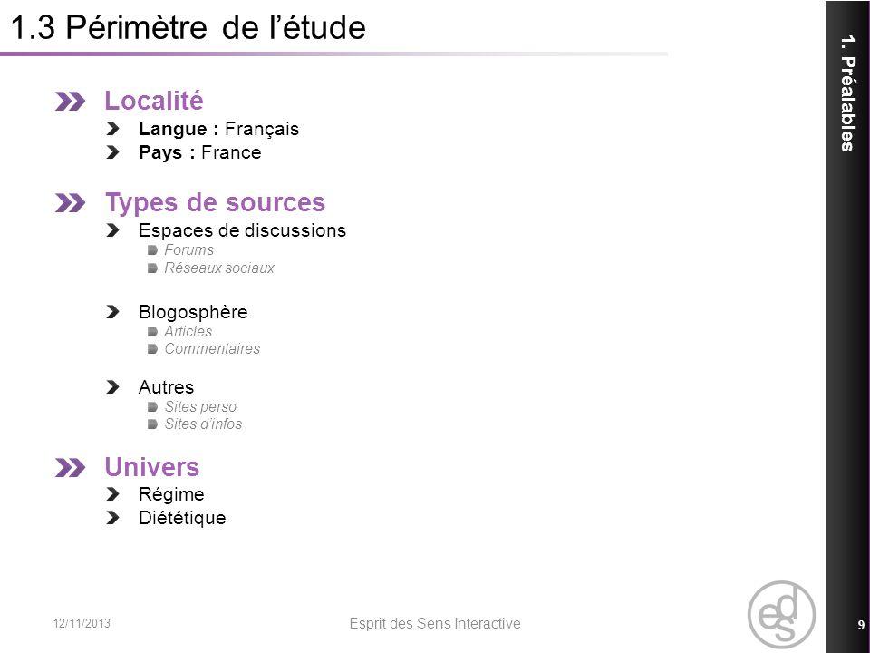 1.3 Périmètre de létude Localité Langue : Français Pays : France Types de sources Espaces de discussions Forums Réseaux sociaux Blogosphère Articles C