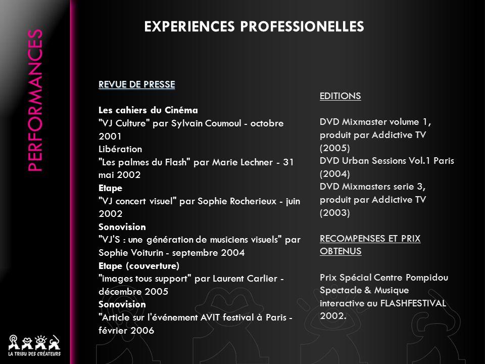 PROJECTION (SELECTION) 24e Festival Tous Courts - (Aix-en-Provence, 4-9 décembre 2006) Festival Nemo - (workshop, Paris, 13 mars 2004) Les Rendez vous Electroniques – « Parcours Images » (Centre Européen de la Photographie, septembre 2003) Festival Nemo - (Paris, janvier 2003 et 2004) Flash Festival 2002 - (Paris, Centre Georges Pompidou, prix spécial) Le Cube - (Issy les moulineaux, juin 2002) Festival MIXMOVE - (France, 19 & 21 oct 2001) Les Cinémas de Demain - (Paris, Centre Georges Pompidou, 29 avril 2001) Festival Videoex - (Suisse, 2001 et 2002) COLLABORATIONS MUSICALES (SELECTIONS) Laurent Garnier, Jeff Mills, Sven Vath, Scan X, Manu le Malin, jack de Marseille, Speedy-J, Thomas Brinkmann, Electric Indigo, Alex Stark, Chloé, theHacker, Oxia, Stacey Pullen, Miss Kittin, Ellen Allien, Fumiya Tanaka, Tonio, Dave Clarke, T.Raumschmier, Technasia, Lusine, Aurel...