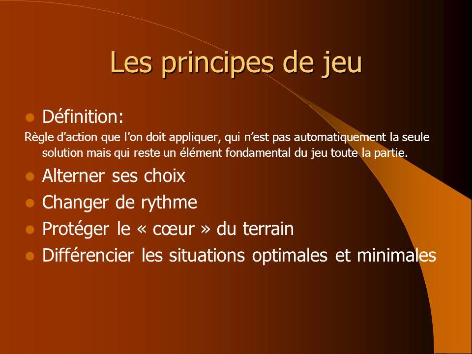 Les principes de jeu Définition: Règle daction que lon doit appliquer, qui nest pas automatiquement la seule solution mais qui reste un élément fondam