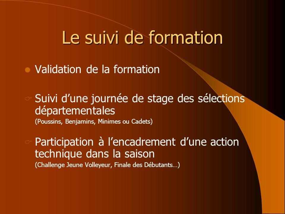 Le suivi de formation Validation de la formation Suivi dune journée de stage des sélections départementales (Poussins, Benjamins, Minimes ou Cadets) P