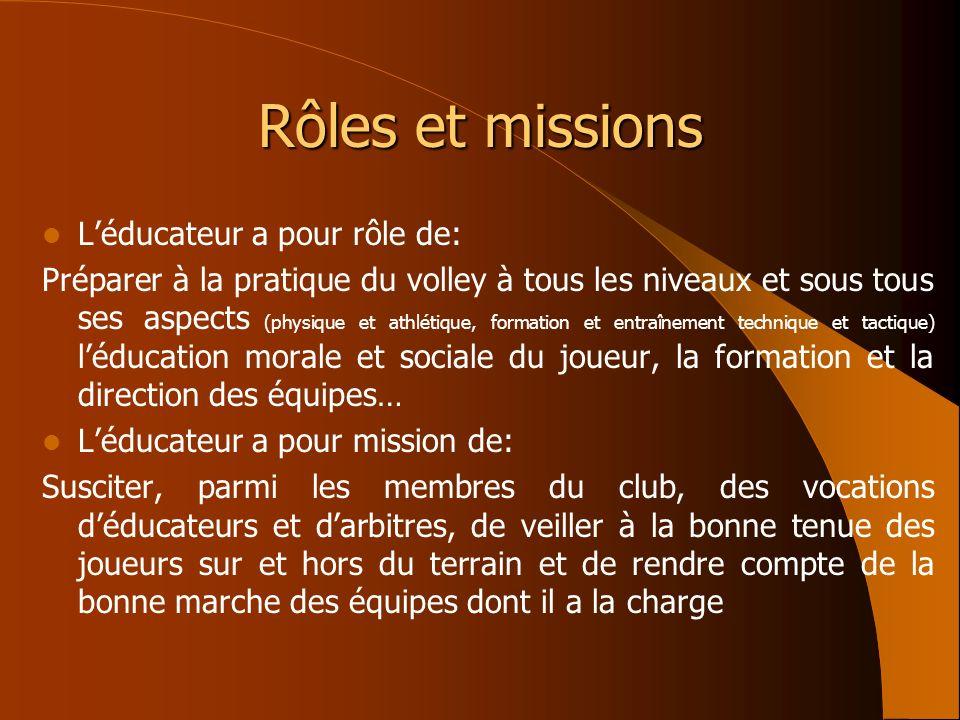 Rôles et missions Léducateur a pour rôle de: Préparer à la pratique du volley à tous les niveaux et sous tous ses aspects (physique et athlétique, for