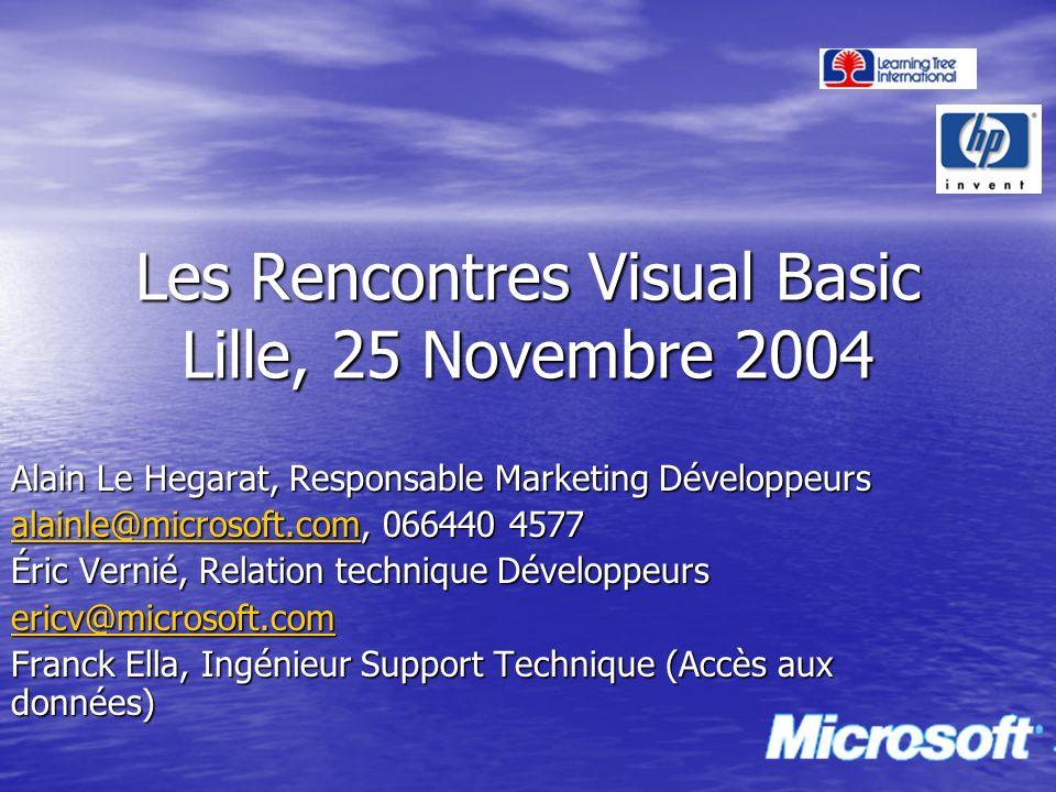 Les Rencontres Visual Basic Lille, 25 Novembre 2004 Alain Le Hegarat, Responsable Marketing Développeurs alainle@microsoft.comalainle@microsoft.com, 0