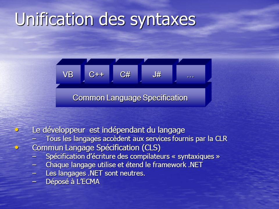 Unification des syntaxes Le développeur est indépendant du langage Le développeur est indépendant du langage –Tous les langages accèdent aux services