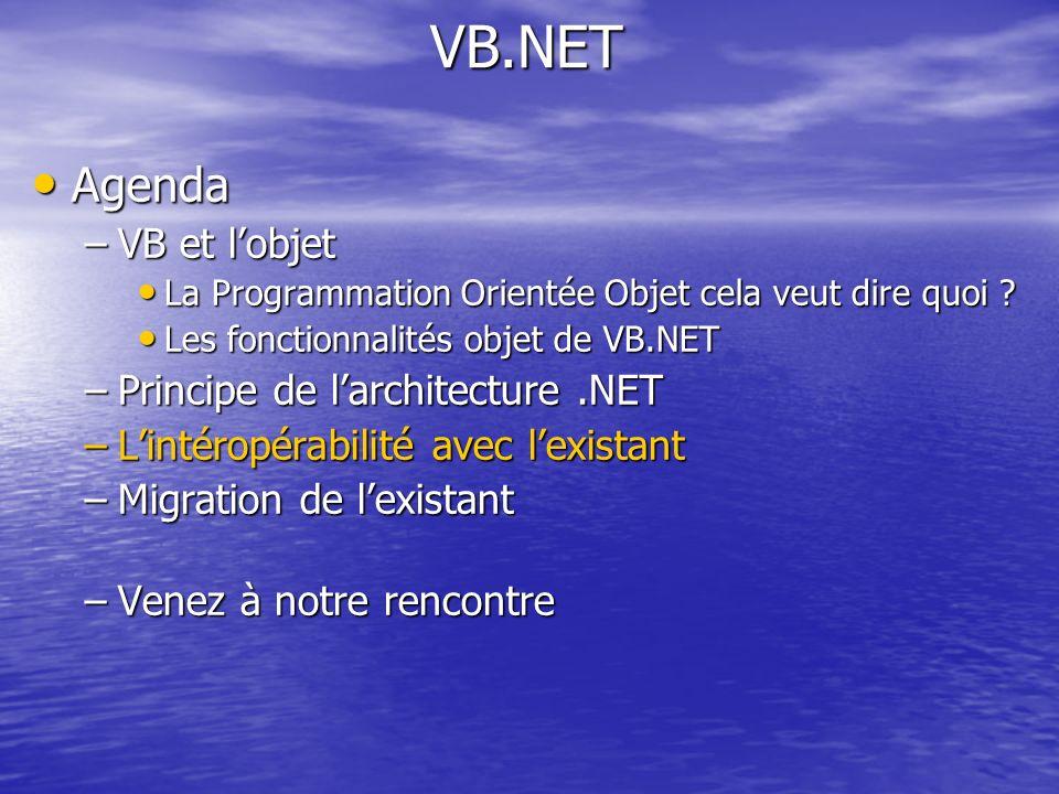 VB.NET Agenda Agenda –VB et lobjet La Programmation Orientée Objet cela veut dire quoi ? La Programmation Orientée Objet cela veut dire quoi ? Les fon