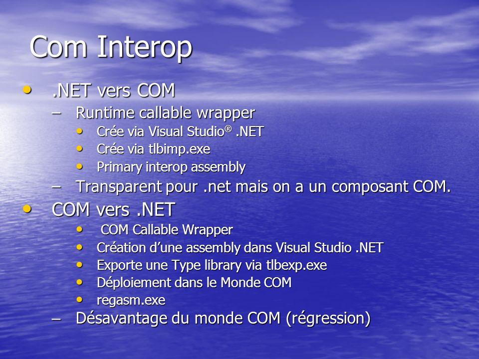 Com Interop.NET vers COM.NET vers COM –Runtime callable wrapper Crée via Visual Studio ®.NET Crée via Visual Studio ®.NET Crée via tlbimp.exe Crée via