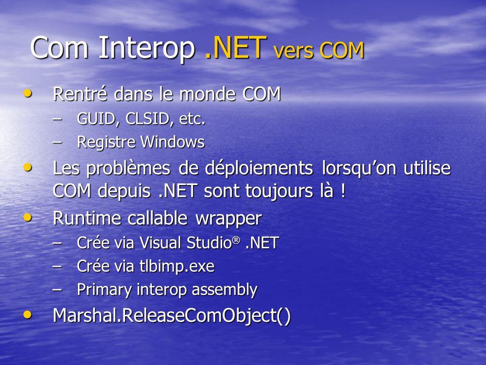 Com Interop.NET vers COM Rentré dans le monde COM Rentré dans le monde COM –GUID, CLSID, etc. –Registre Windows Les problèmes de déploiements lorsquon