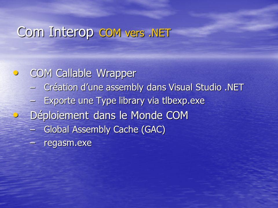 Com Interop COM vers.NET COM Callable Wrapper COM Callable Wrapper –Création dune assembly dans Visual Studio.NET –Exporte une Type library via tlbexp