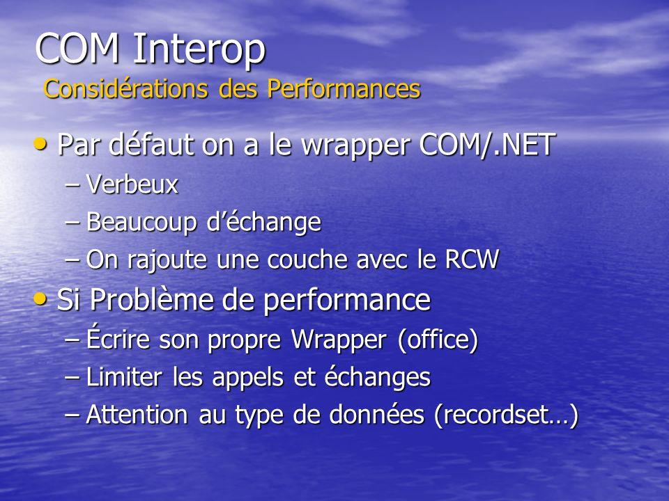 COM Interop Considérations des Performances Par défaut on a le wrapper COM/.NET Par défaut on a le wrapper COM/.NET –Verbeux –Beaucoup déchange –On ra