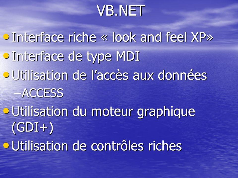 Interface riche « look and feel XP» Interface riche « look and feel XP» Interface de type MDI Interface de type MDI Utilisation de laccès aux données