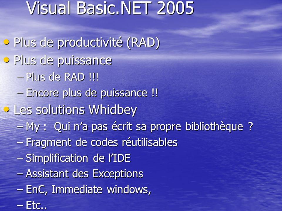 Visual Basic.NET 2005 Plus de productivité (RAD) Plus de productivité (RAD) Plus de puissance Plus de puissance –Plus de RAD !!! –Encore plus de puiss