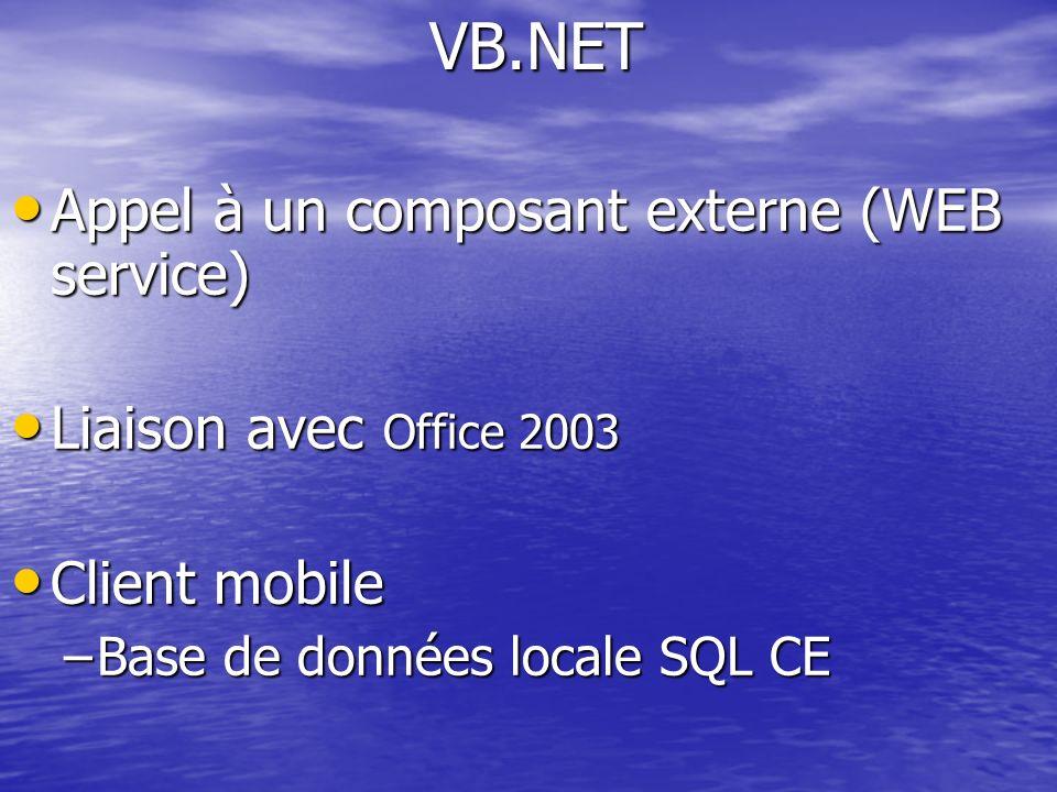 Appel à un composant externe (WEB service) Appel à un composant externe (WEB service) Liaison avec Office 2003 Liaison avec Office 2003 Client mobile