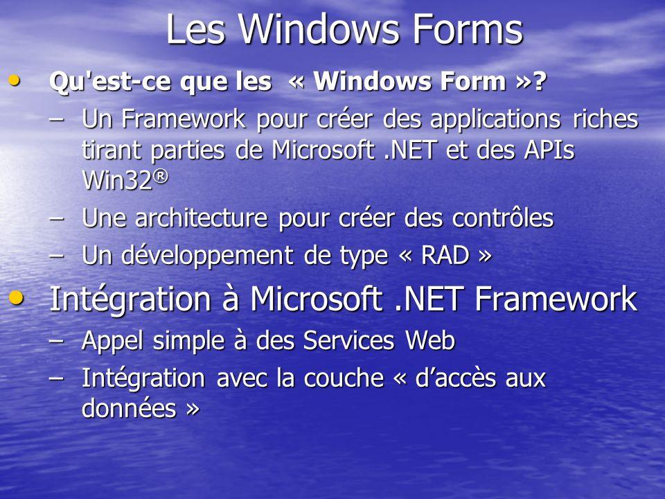Les Windows Forms Qu'est-ce que les « Windows Form »? Qu'est-ce que les « Windows Form »? –Un Framework pour créer des applications riches tirant part
