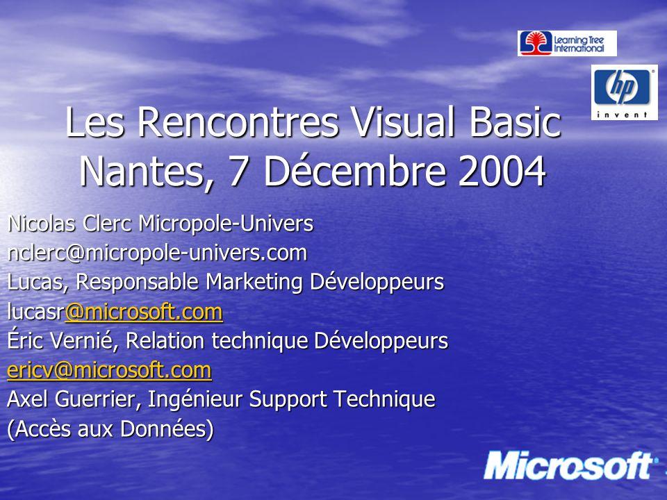 Les Rencontres Visual Basic Nantes, 7 Décembre 2004 Nicolas Clerc Micropole-Univers nclerc@micropole-univers.com Lucas, Responsable Marketing Développ