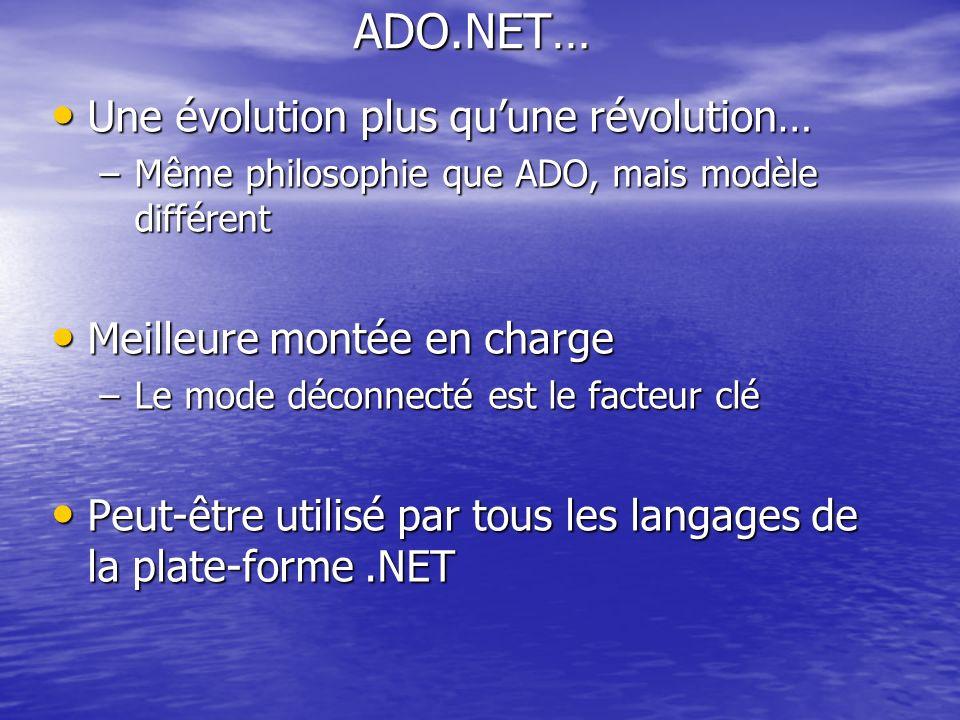 ADO.NET… Une évolution plus quune révolution… Une évolution plus quune révolution… –Même philosophie que ADO, mais modèle différent Meilleure montée e
