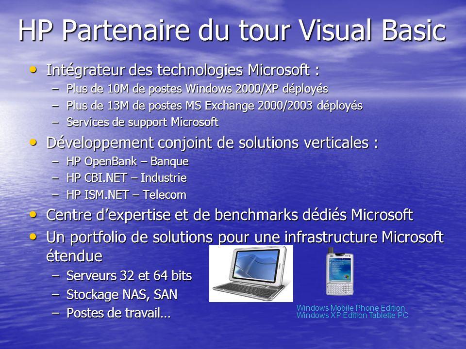 HP Partenaire du tour Visual Basic Intégrateur des technologies Microsoft : Intégrateur des technologies Microsoft : –Plus de 10M de postes Windows 20