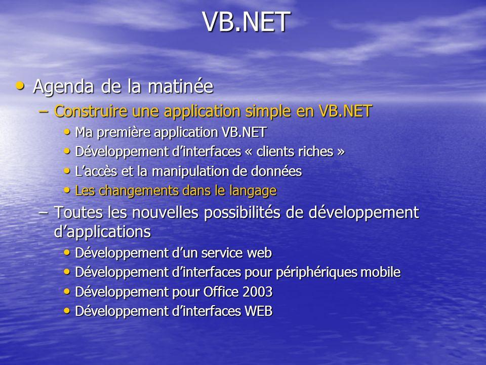 VB.NET VB.NET Agenda de la matinée Agenda de la matinée –Construire une application simple en VB.NET Ma première application VB.NET Ma première applic