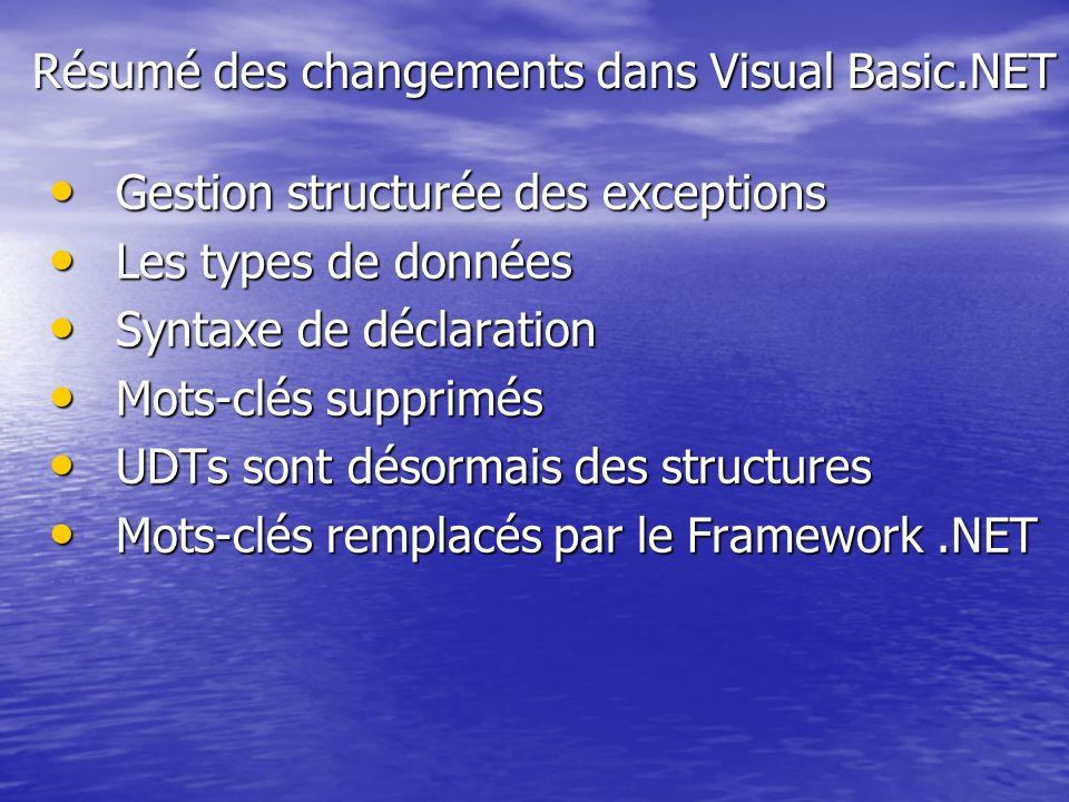 Résumé des changements dans Visual Basic.NET Gestion structurée des exceptions Gestion structurée des exceptions Les types de données Les types de don