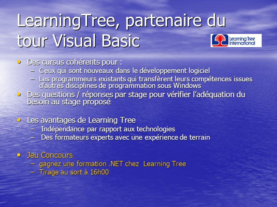 LearningTree, partenaire du tour Visual Basic Des cursus cohérents pour : Des cursus cohérents pour : –Ceux qui sont nouveaux dans le développement lo