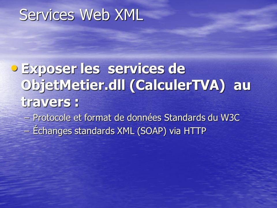 Services Web XML Exposer les services de ObjetMetier.dll (CalculerTVA) au travers : Exposer les services de ObjetMetier.dll (CalculerTVA) au travers :