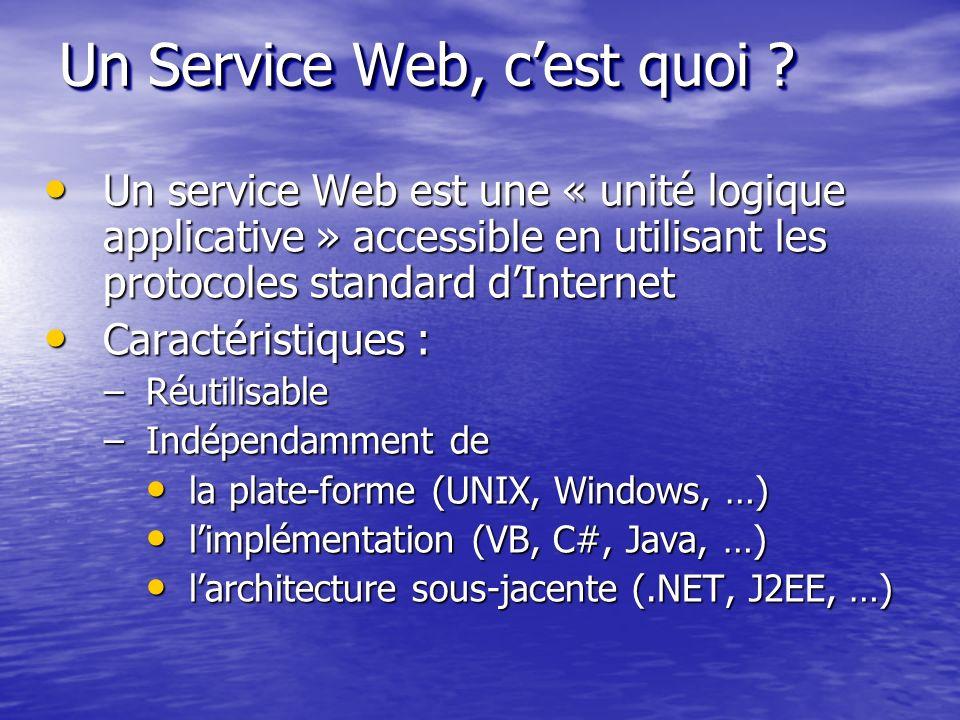 Un service Web est une « unité logique applicative » accessible en utilisant les protocoles standard dInternet Un service Web est une « unité logique