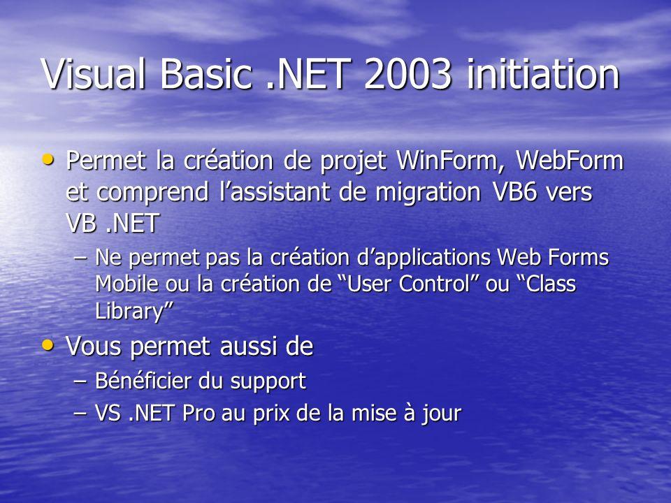 Visual Basic.NET 2003 initiation Permet la création de projet WinForm, WebForm et comprend lassistant de migration VB6 vers VB.NET Permet la création