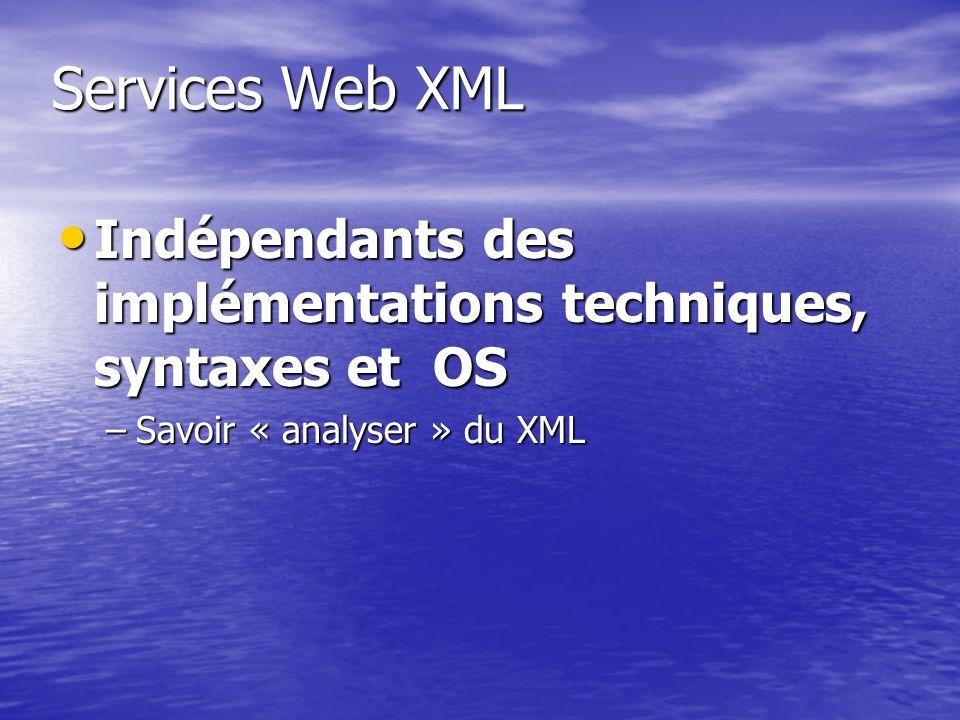 Services Web XML Indépendants des implémentations techniques, syntaxes et OS Indépendants des implémentations techniques, syntaxes et OS –Savoir « ana