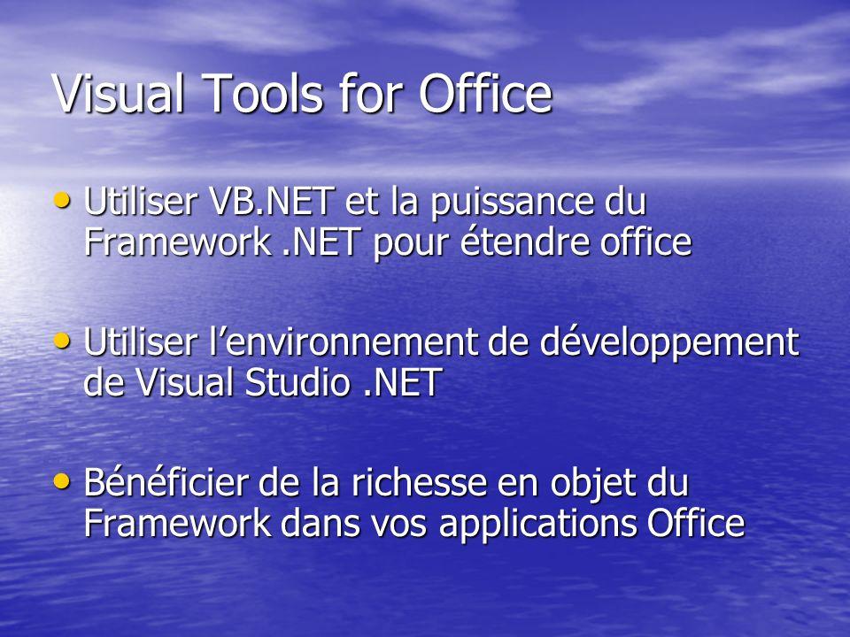 Visual Tools for Office Utiliser VB.NET et la puissance du Framework.NET pour étendre office Utiliser VB.NET et la puissance du Framework.NET pour éte
