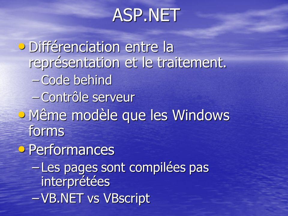ASP.NET Différenciation entre la représentation et le traitement. Différenciation entre la représentation et le traitement. –Code behind –Contrôle ser