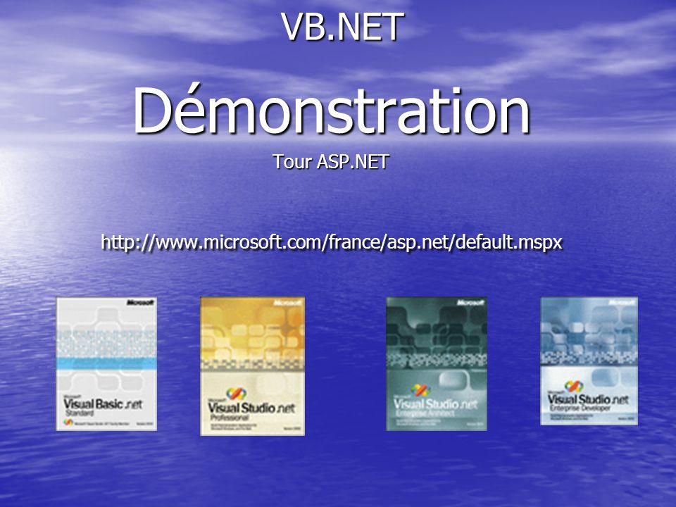 VB.NET VB.NETDémonstration Tour ASP.NET http://www.microsoft.com/france/asp.net/default.mspx