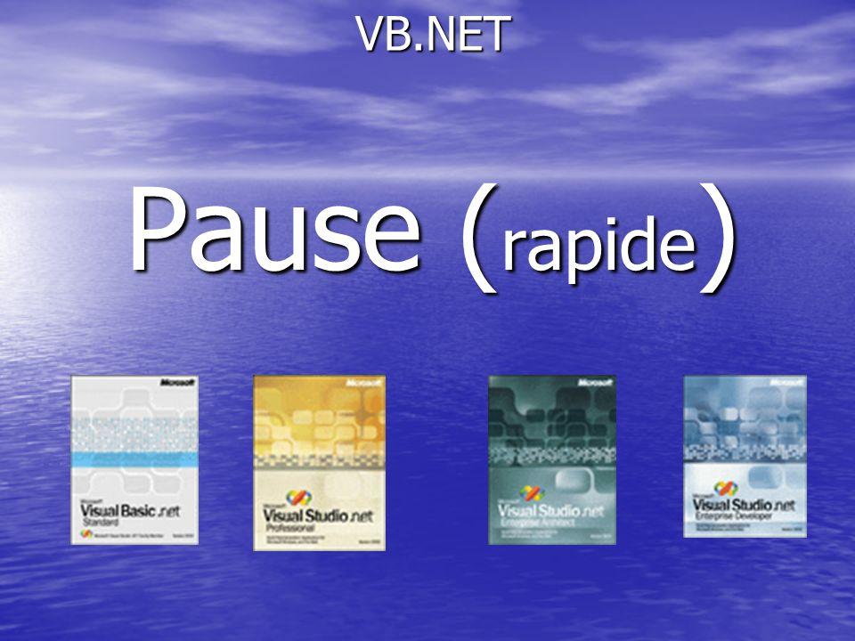 VB.NET VB.NET Pause ( rapide )