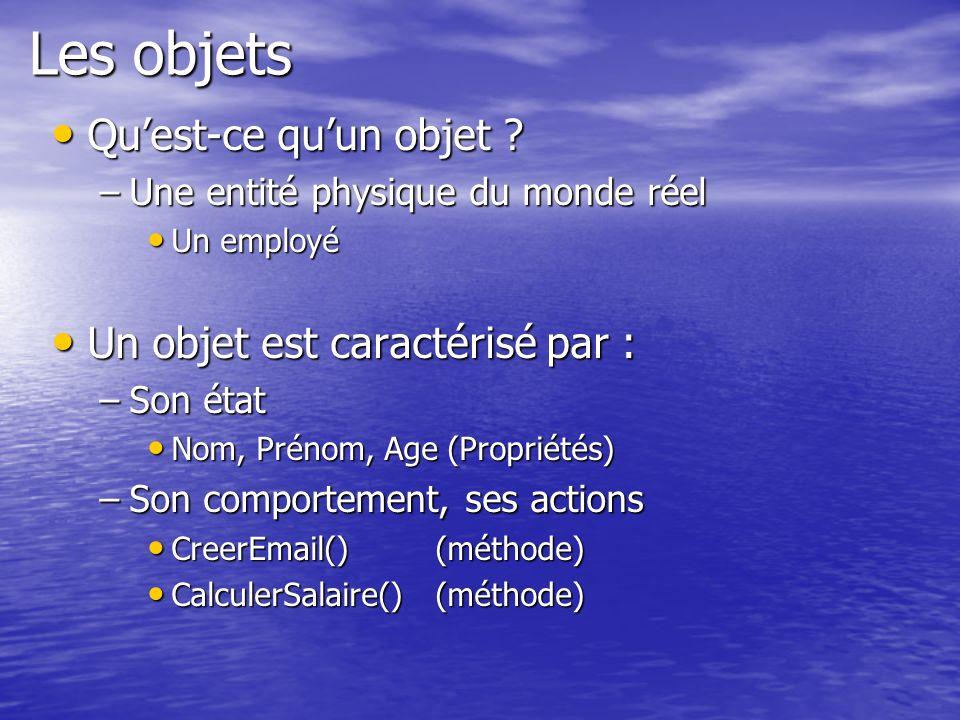 Les objets Quest-ce quun objet ? Quest-ce quun objet ? –Une entité physique du monde réel Un employé Un employé Un objet est caractérisé par : Un obje