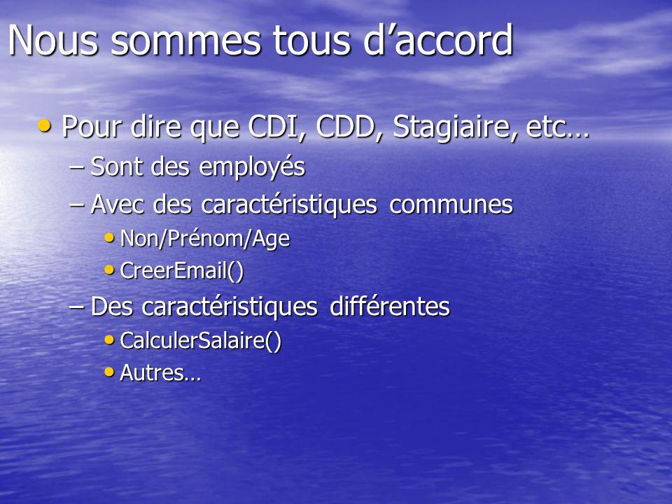 Nous sommes tous daccord Pour dire que CDI, CDD, Stagiaire, etc… Pour dire que CDI, CDD, Stagiaire, etc… –Sont des employés –Avec des caractéristiques