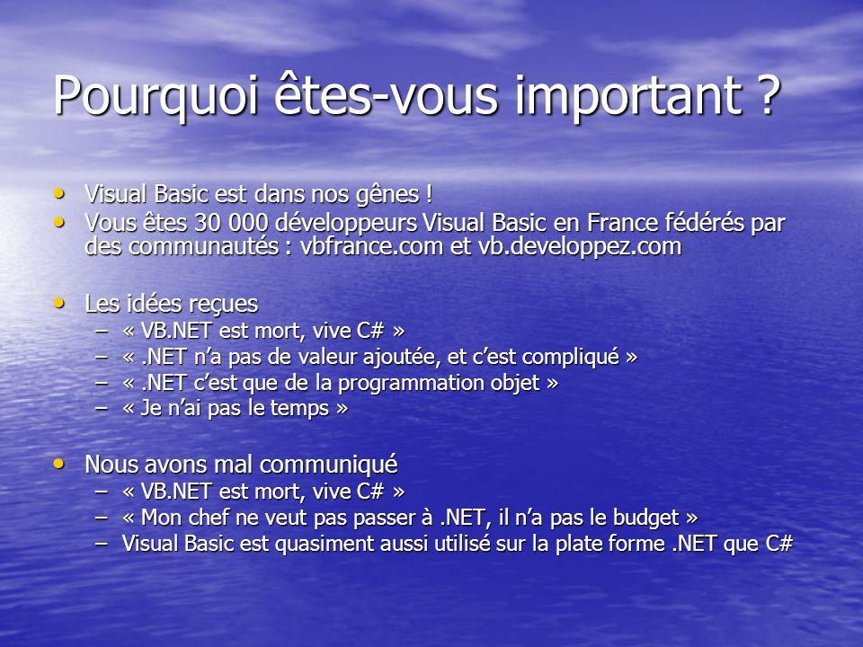 Pourquoi êtes-vous important ? Visual Basic est dans nos gênes ! Visual Basic est dans nos gênes ! Vous êtes 30 000 développeurs Visual Basic en Franc