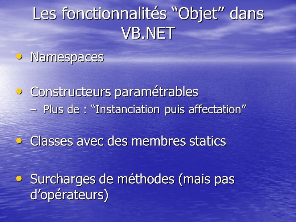 Les fonctionnalités Objet dans VB.NET Namespaces Namespaces Constructeurs paramétrables Constructeurs paramétrables –Plus de : Instanciation puis affe