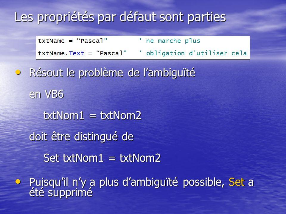 Les propriétés par défaut sont parties Résout le problème de lambiguïté en VB6 txtNom1 = txtNom2 doit être distingué de Set txtNom1 = txtNom2 Résout l