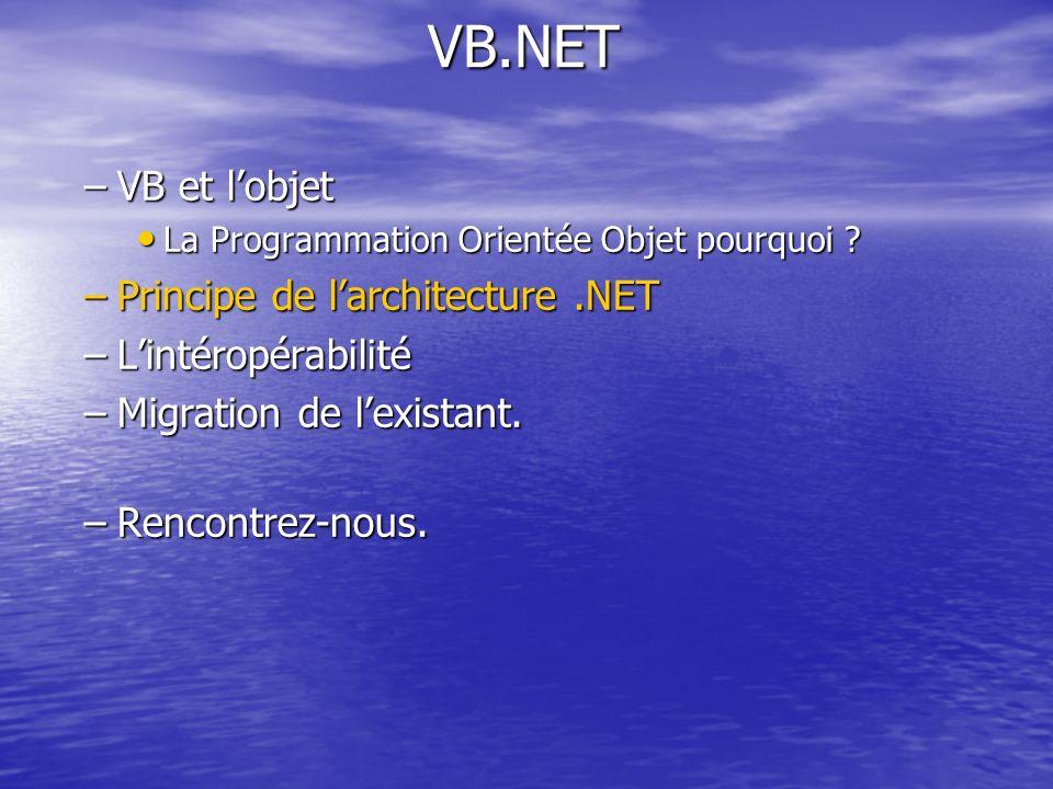 VB.NET –VB et lobjet La Programmation Orientée Objet pourquoi ? La Programmation Orientée Objet pourquoi ? –Principe de larchitecture.NET –Lintéropéra