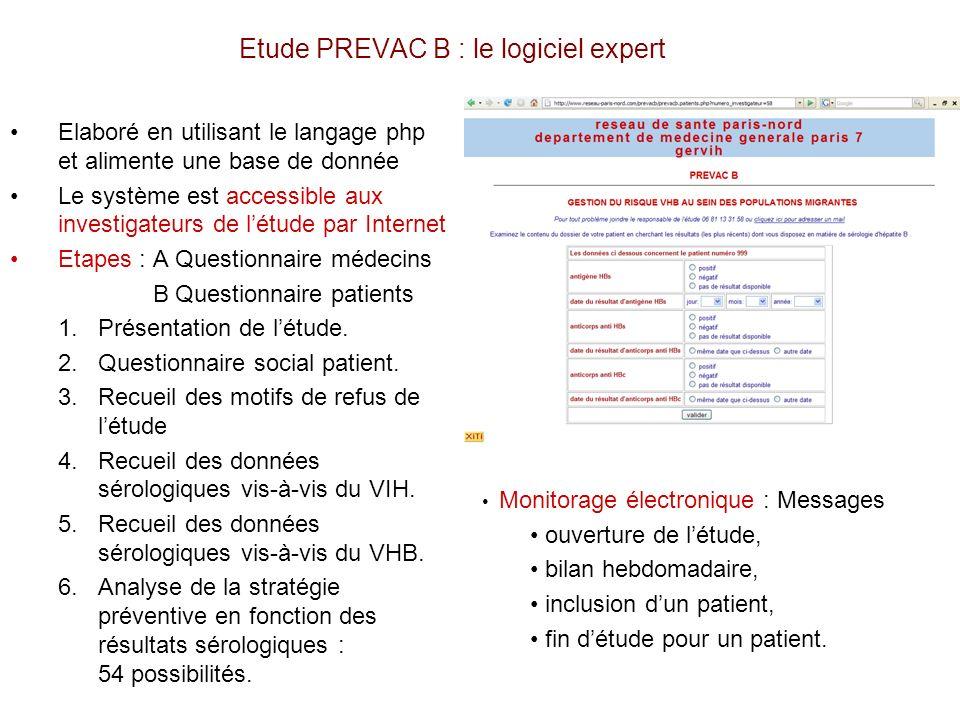 Etude PREVAC B : le logiciel expert Elaboré en utilisant le langage php et alimente une base de donnée Le système est accessible aux investigateurs de