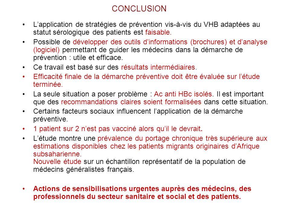 CONCLUSION Lapplication de stratégies de prévention vis-à-vis du VHB adaptées au statut sérologique des patients est faisable. Possible de développer