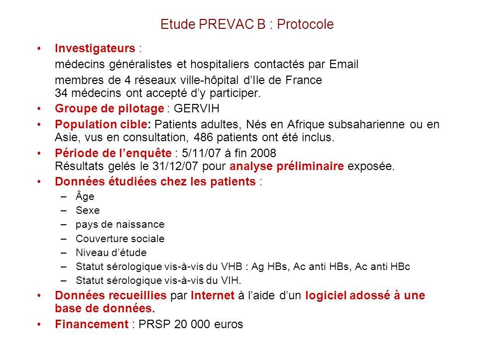 Etude PREVAC B : Protocole Investigateurs : médecins généralistes et hospitaliers contactés par Email membres de 4 réseaux ville-hôpital dIle de Franc