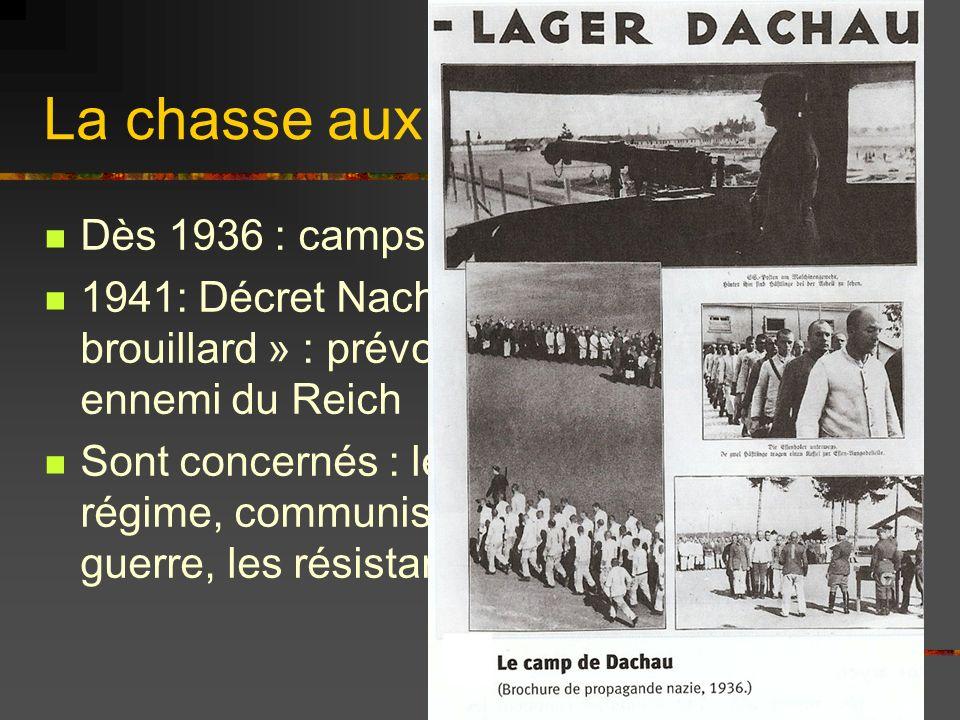 La chasse aux opposants Dès 1936 : camps de Dachau 1941: Décret Nacht und Nebel « Nuit et brouillard » : prévoit de déporter tout ennemi du Reich Sont