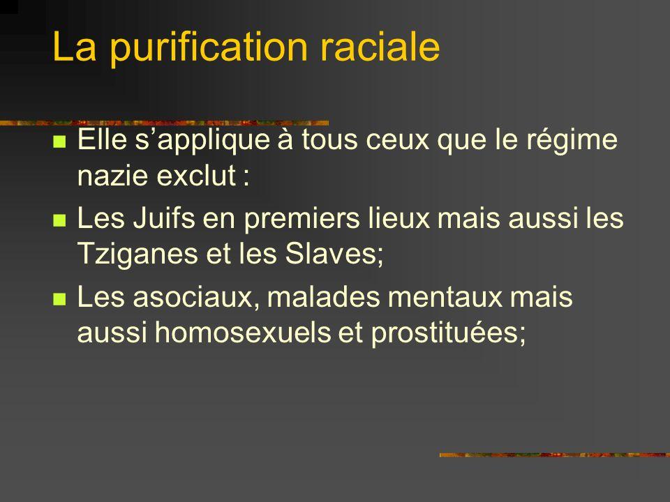 La purification raciale Elle sapplique à tous ceux que le régime nazie exclut : Les Juifs en premiers lieux mais aussi les Tziganes et les Slaves; Les