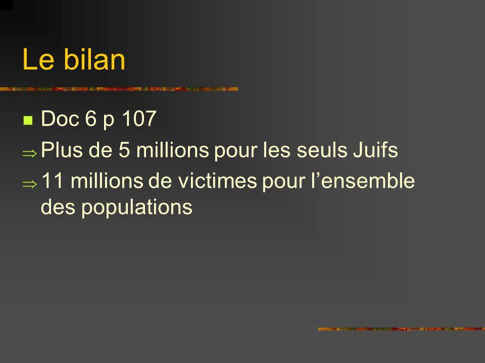 Le bilan Doc 6 p 107 Plus de 5 millions pour les seuls Juifs 11 millions de victimes pour lensemble des populations