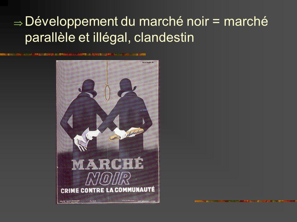 Développement du marché noir = marché parallèle et illégal, clandestin