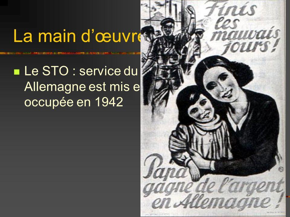 La main dœuvre exploitée Le STO : service du travail obligatoire en Allemagne est mis en place dans lEurope occupée en 1942